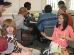 Youth strategize their lobbying agendas in preparation for meetings with their representatives' staff.