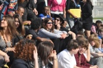 Monday, 4/16/2012 - IHTD's youth participants sit on the steps of the Capitol Building.